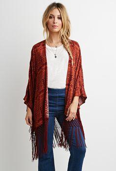 Southwestern Print Fringe Kimono | Forever 21 - 2000161727