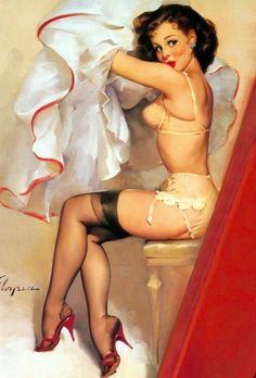 Pin up girl by Gil Elvgren. I'd love to get a tattoo like this but with a nurses hat on the girl