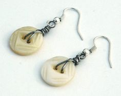 Pierced Earrings - Vintage Mother of Pearl Buttons, Wire Wrapped