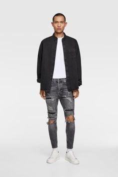Zara Man, Jean Grey, Ripped Skinny Jeans, Street Wear, Bomber Jacket, Street Style, Denim, My Style, How To Wear