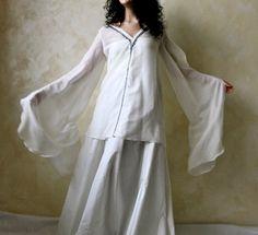 Silk medieval blouse  Long Fairy Wings sleeves shirt  by LoreTree, €78.00