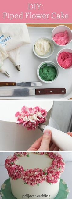 Tutoriais de Confeitaria e Decoração de bolos piped flower cake; wouldn't mind doing the cake with some of the lovely ladies in my family for my own wedding Cute Cakes, Pretty Cakes, Beautiful Cakes, Amazing Cakes, Cake Icing, Eat Cake, Cupcake Cakes, Cake Fondant, Cake Decorating Tutorials