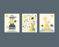 Nursery Wall Letters Set 3 8x10 Nursery Wall by DesignByMaya, $50.00