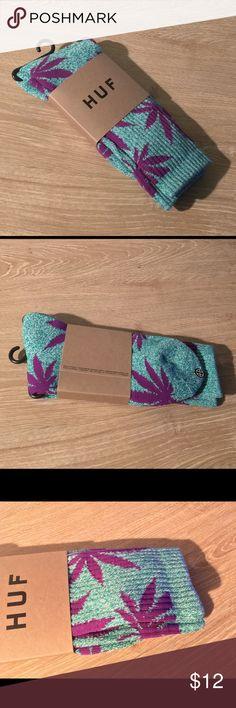 HUF Plantlife Crew Sock NWOT Jade Heather/Purple  2 Pairs for $20 Accessories Hosiery & Socks