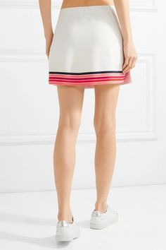 Tory Sport - Striped Piqué Skirt - White -