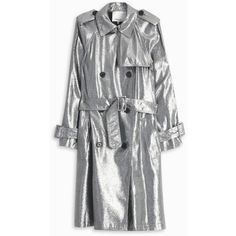 Metallic Trench Coat (2,130 BAM) ❤ liked on Polyvore featuring outerwear, coats, metallic coat and trench coat