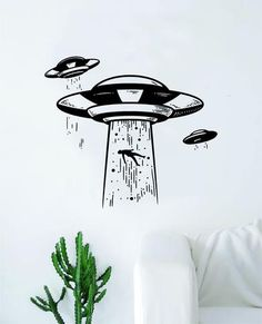 UFO Abduction Decal Sticker Wall Vinyl Art Home Decor Space Aliens Martians Funny Mars Teen Kids Vinyl Wall Decals, Vinyl Art, Painted Skateboard, Ufo Tattoo, Aliens And Ufos, Custom Paint Jobs, Paint Designs, Easy Drawings, Word Art