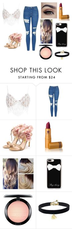 """""""Happy new year 🎊"""" by fangurrl01 ❤ liked on Polyvore featuring For Love & Lemons, Topshop, Rupert Sanderson, Lipstick Queen, Casetify, MAC Cosmetics and Vanessa Mooney"""