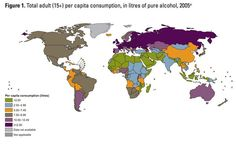 Map of alcohol consumption around the world Perhaps growing up in Las Vegas put beer-goggles on my sense of America's global standings on alcohol consumption. Still, that dark purple mass indicating a greater-than-12.50 liter per-capita consumption of pure alcohol must mean the Russian liver is a force to be reckoned with, especially considering your standard vodka is only 40-50%.