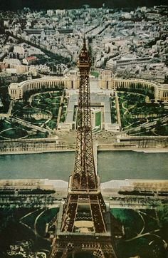 The Eiffel Tower's steel tower overhangs the sprawling Palais de Chaillot on the Seine River National Geographic | June 1960