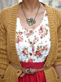 This works amazing.  And I have that necklace!  Just need a nice floral blouse and to knit a relaxed-style cardigan.