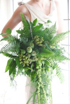 These All-Greenery Wedding Bouquets Are *Perfect* for the Non-Traditional Bride via Brit + Co