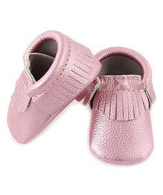 Another great find on #zulily! Pink Fringe Metallic Eco Moccasin #zulilyfinds
