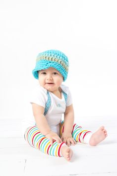 GET THE SET - Baby Boy Onesie with Suspenders and matching hat  - Pick your own - Spring, Easter, Summer. $32.00, via Etsy.