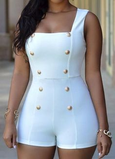 New Fashion 2017 Sasual Regular Gold Buttons Rompers Womens Short Jumpsuit Sexy Sleeveless zip one piece white bodysuits black Curvy Outfits, Classy Outfits, Sexy Outfits, Stylish Outfits, Beautiful Outfits, Fashion Outfits, Rompers Women, Jumpsuits For Women, Diva Fashion