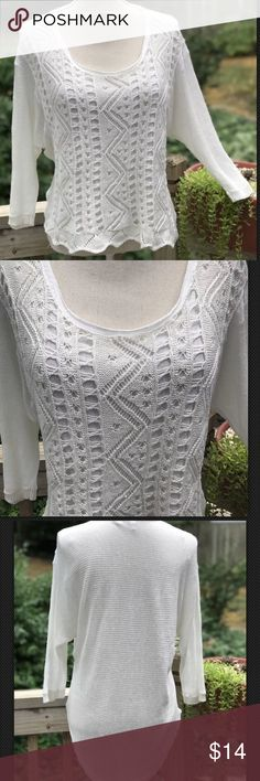 "Anthropology Moth Size Medium Hi Lo Sweater White Anthropology Moth Women's Medium Hi Lo Layered Pullover Sweater with Lacey Crochet in White Arm to Armpit 20"" length in front 22"" Length in back 32"" Gently owned without any flaws  Bin F Anthropologie Sweaters Crew & Scoop Necks"