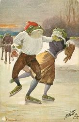 two dressed frogs ice-skate