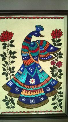 Madhubani painting peacock - Art and Craft School Peacock Drawing, Peacock Painting, Peacock Art, Fabric Painting, Peacock Rangoli, Madhubani Paintings Peacock, Madhubani Art, Indian Art Paintings, Simple Paintings