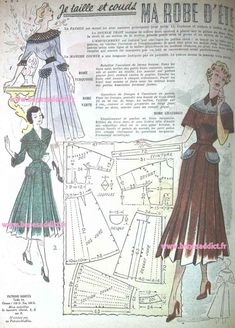 GRATUIT! 35 Patrons Couture Vintage 1950! Vêtements Sacs et Accessoires!