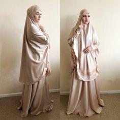Elegant beige Muslim suit, Silk golden jilbab, wedding khimar, engagement beige islamic dress, nikah Street Hijab Fashion, Skirt Fashion, Fashion Outfits, Disney Wedding Dresses, Pakistani Wedding Dresses, Wedding Hijab, Chic Wedding, Wedding Ideas, Hijab Style