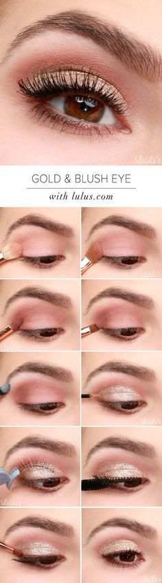 Makeup Tips For Looking Your Best In Photos - Lulus How-To: Gold and Blush Valentine's Day Eye Makeup Tutorial - Make Up Tips And Tricks Including Eyeshadows, Brows, Eyes, Products And Eyebrows Ideas That Will Help You Look Amazing In Photos. Covers Diffe