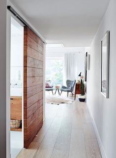 very cool sliding door for the kitchen space Sliding door - rustic wood, walnut or dark stain?