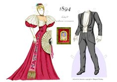 1894 Evening Wear FASHIONABLE COUPLE of the 1890s by Margaret Fleming