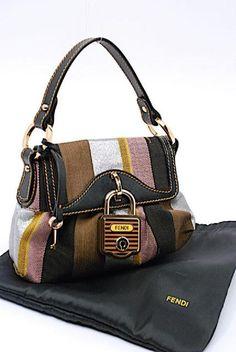 5bf406f61c1f Fendi Handbag Canvas Satchel in Black Gold Brown Multi Color Fendi