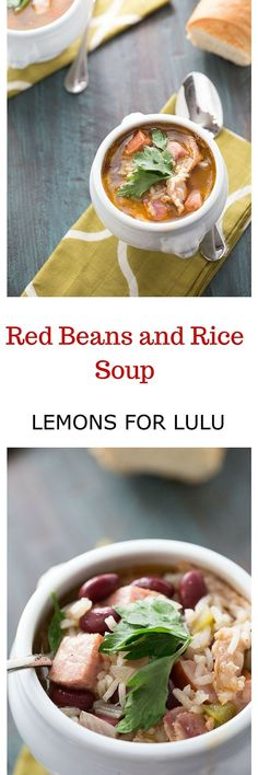 Want something to warm you up? This red beans and rice soup is it! With its hearty beans and rice, spicy sausage and bacon, it's rich in flavor and completely satisfying! lemonsforlulu.com