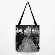 Buy Wooden Bridge in BW Tote Bag by ARTbyJWP. Worldwide shipping available at Society6.com. Just one of millions of high quality products available.