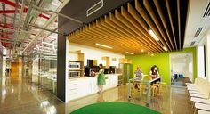 Industrial Space. Exposed Plumbing. Wood Accents. Green Accents. Green Carpet.