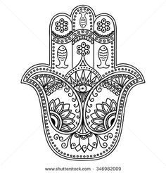 """Similar Images, Stock Photos & Vectors of Hamsa hand drawn symbol with lotus. Decorative pattern in oriental style for interior decoration and henna drawings. The ancient sign of """"Hand of Fatima"""". Hamsa Design, Mandala Design, Colouring Pics, Adult Coloring Pages, Coloring Books, Hand Der Fatima, Hamsa Art, Henna Drawings, Hindu Art"""