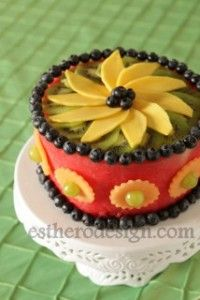 Watermelon Cake made entirely of fruit. From www.estherodesign.com