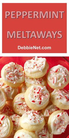 These yummy little cookies are a definite nod to the Christmas season. So pretty and the crushed candy canes make them extra yummy! | DebbieNet.com