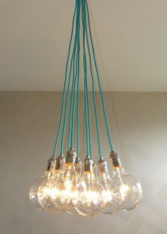 9 Cluster Any Colors - Chandelier Pendant Lighting Cluster modern chandelier Rainbow Cloth Cords Industrial pendant lamp Turquoise