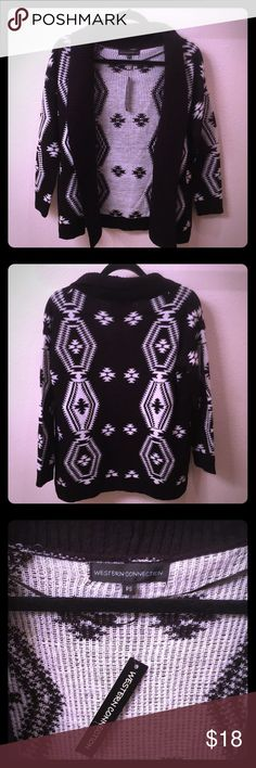 NWT Black and White Aztec Cardigan Bran new with tags, has cute black and white designs, is slightly oversized but not too much. Soft,warm and stylish. Size Petite small but will fit up to a medium. western connection Sweaters Cardigans