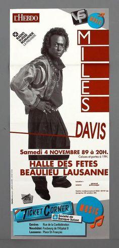 MILES DAVIS - mega rare vintage original Lausanne 1989 jazz concert poster