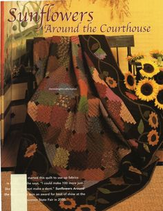 Sunflowers Around The Courthouse Quilt Pattern Pieced/Applique JF