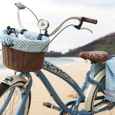 Blue beach cruiser with basket Love the monogrammed basket liner! For Kylie