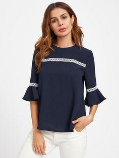 Crochet Detail Fluted Sleeve Blouse