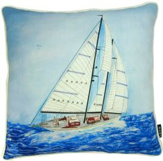 Would be perfect on a set of deck chairs or on board your boat! Dream Beach Houses, Nautical Pillows, Deck Chairs, Sailboat, Sailing Ships, Coastal, Hand Painted, Inspired, Board