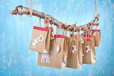 Handmade advent calendar with paper bags on a wooden branch Advent Calenders, Diy Advent Calendar, Diy Crafts Step By Step, Advent Activities, Christmas Decorations, Holiday Decor, Wind Chimes, Xmas, Handmade