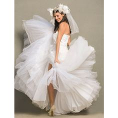 Big Gypsy Wedding Dress, White Wedding Bustle, Alternative Wedding,... ($5,990) ❤ liked on Polyvore featuring dresses, special occasion dresses, sexy cocktail dresses, white feather dress, corset dress and white dress