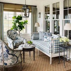 New construction of a traditional family home with a classic Southern California farmhouse style. Interior design and decoration by Alexandra Rae Design. Decor, House Design, Room Design, Blue Rooms, White Decor, Home Decor, House Interior, Blue White Decor, Interior Design