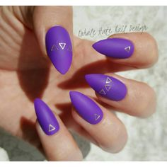 Matte Purple with Gold Triangles Press on Fake Nails Choose Your Shape ($13) ❤ liked on Polyvore featuring jewelry, gold jewelry, imitation gold jewelry, yellow gold jewelry, gold jewellery and ballerina jewelry