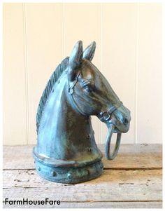 Horse Head Statue Equestrian Figurine Large Horse by FarmHouseFare