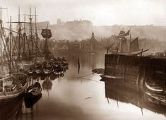 An poster sized print, approx (other products available) - A view of the upper harbour in Whitby, circa (Photo by Frank Meadow Sutcliffe/Hulton Archive/Getty Images) - Image supplied by Fine Art Storehouse - Poster printed in Australia History Of Photography, Vintage Photography, White Photography, Fine Art Photo, Photo Art, Old Photos, Vintage Photos, Whitby England, New Fine Arts