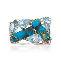Artfully designed mosaic ring mixes turquoise bars with multiple shapes of blue topaz.
