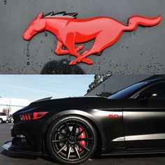 OOOOH HELLO Black Mustang with red lipstick  and nail polish. Fierce.