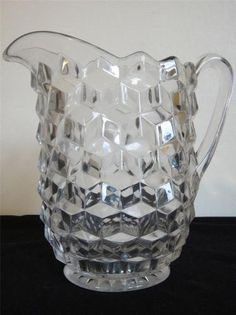 "Fostoria, Cube Glass, LARGE Jug, Pitcher, Ewer, 7"" or 18cm tall. Pressed Glass."